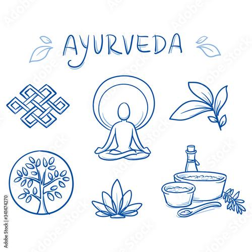 Photo Set of ayurveda symbols of yoga, herbs and plants