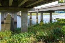 Under Bridge Crossing Long Meadow Lake In Bloomington Minnesota