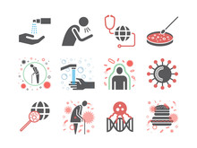 World Virus Icons. Symptoms. Vector Signs For Web Graphics