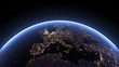 Planet Earth, view from space. 3d 4K animation of terrestrial globe.