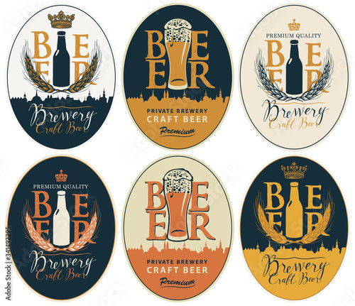 Fototapeta Set of vector labels for craft beer and Breweries in oval frames in retro style. Labels with overflowing glasses of frothy beer, beer bottles, wheat ears, inscriptions and silhouettes of old cities obraz