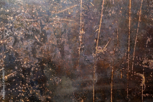 Tela rusted black flat raw steel sheet surface texture and background with scratches