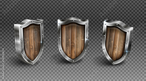 Valokuva Wood shield with metal frame medieval knight ammo