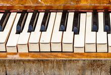 Close Up Of Old Piano Keys