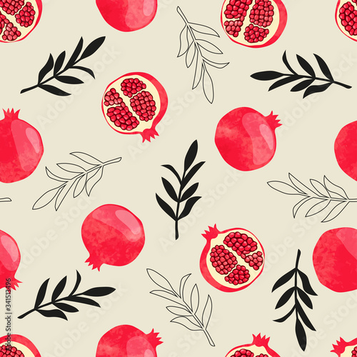 Seamless pomegranate pattern. Vector watercolor illustration with fruits and branches - 341513496