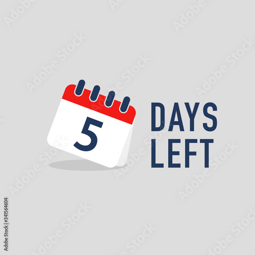 Valokuva 5 days left countdown with calendar. Vector