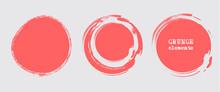 Set Of Grunge Vector Round And Circle. Grunge Background.