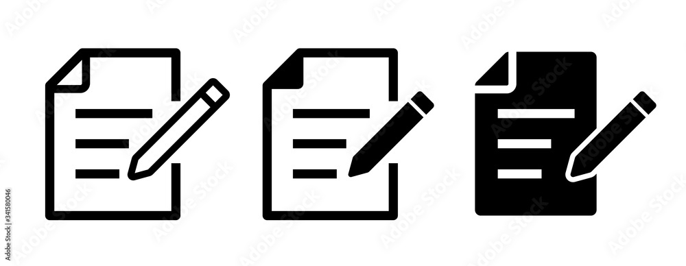 Fototapeta 書類データとペンのアイコンセット