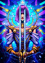 A Beautiful Girl With Two Swords In Her Hands That Cover Her Eyes, She Has A Purple Square, She Is Dressed In An Elegant Silk Suit, Behind Her Is A Blue Stained Glass Window With Many Patterns. 2D