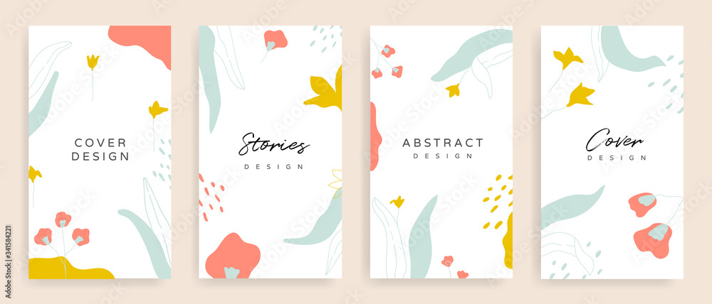 Fototapeta Social media stories and post cover design vector set. Background template with copy space for text and images design by abstract coloured shapes, line arts and floral.
