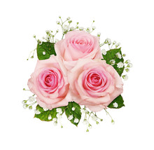 Pink Rose Flowers And Gypsophila In A Floral Arrangement