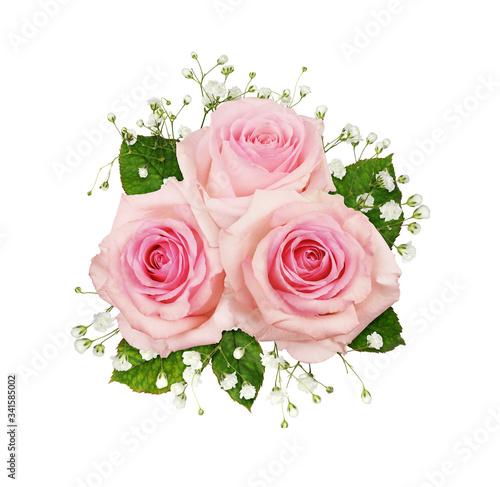 Obraz na plátně Pink rose flowers and gypsophila in a floral arrangement