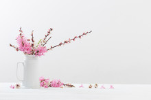 Spring  Flowers In Vase On Whi...