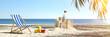 Sandburg am Karibik Strand im Sommer Urlaub