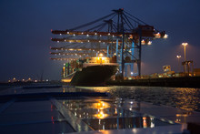 Cranes Loading Container Ship