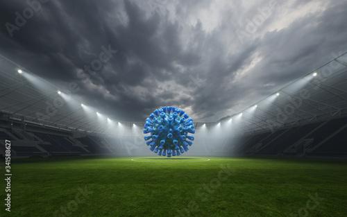 Obraz Leeres Fußball Stadion ohne Zuschauer mit Coronavirus - fototapety do salonu