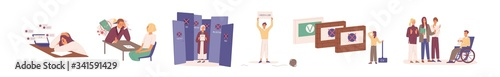 Obraz Hard to find a job during crisis. Young, disabled and elderly people have problems in job seeking. Resume is rejected by employer. Unemployed characters set. Vector illustration in flat cartoon style - fototapety do salonu