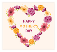 Happy Mothers Day Card Design With Floral Heart Of Pink And Yellow Summer Flowers Forming A Frame Around Central Text, Vector Illustration