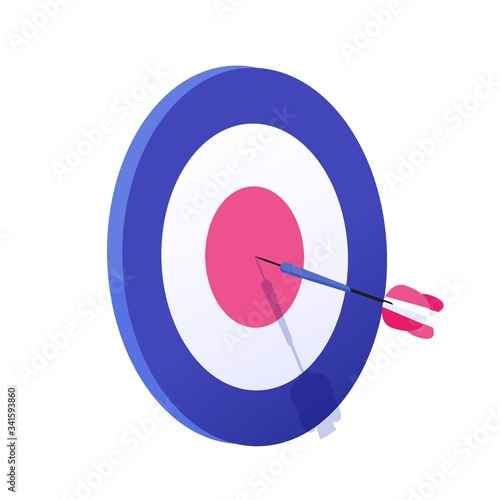 Cartoon arrow exactly on target vector graphic illustration Canvas-taulu
