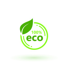 Eco 100 Natural Stamp Illustration. Premium Quality, Locally Grown, Healthy Food Natural Products, Farm Fresh Sticker. Vector Menu Organic Label, Food Product Packaging Bio Emblem