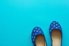 Vintage Blue Pair Of Polka Dot...