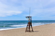 Brown Wooden Lifeguard Stand Tower In The Empty Beach Of Marbella During Quarantine