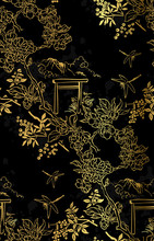 Gate Blossom Dragonfly Mountain Nature Landscape View Vector Sketch Illustration Japanese Chinese Oriental Line Art Ink Seamless Pattern Backdrop Gold