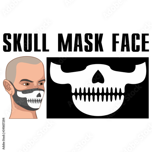 mask of face with skull and predator teeth Wallpaper Mural