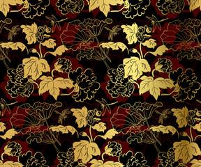 Fototapeta Orientalny japanese chinese design sketch ink paint style seamless pattern chrysanthemums black gold red