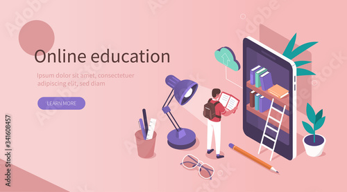Fototapeta Student Learning Online at Home. Character Reading Book in Online Library and Studying with Smartphone. Mobile Education Concept. Flat Isometric Vector  Illustration. obraz