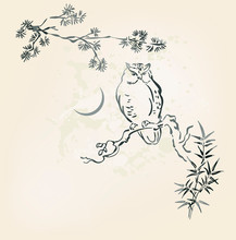 Owl Vector Card Japanese Chinese Nature Ink Illustration Engraved Sketch Traditional Textured