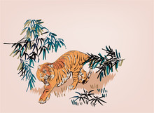 Tiger Vector Japanese Chinese Nature Ink Illustration Engraved Sketch Traditional Textured Seamless Pattern Colorful Watercolor