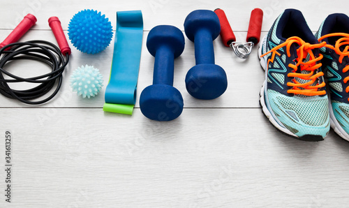 Cuadros en Lienzo The fitness tools and  a equipment on the wooden floor