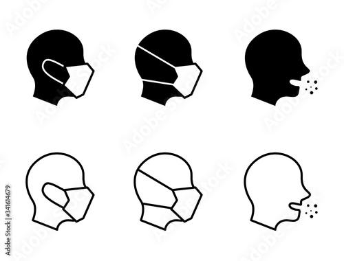 Valokuva フェイスマスクをしている人間の横顔のアイコンセット