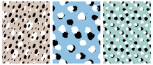 Simple Freehand Spots Seamless Vector Patterns. White And Black Hand Drawn Brush Dots Isolated On A  Light Blue, Gray And Mint Green Background. Rough Irregular Geometric Print For Fabric, Textile.