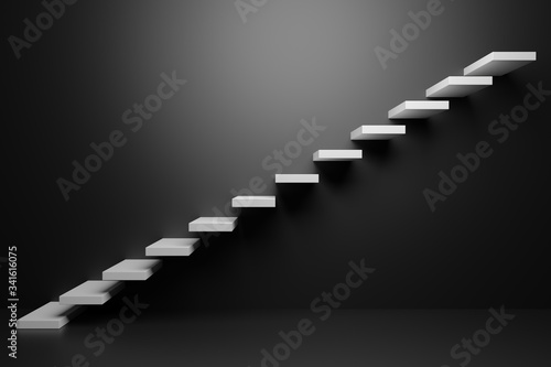 White ascending stairs in black room 3D abstract illustration Wallpaper Mural