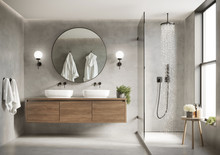 3d Modern Contemporary Grey Concrete Bathroom With  Round Mirror And Shower