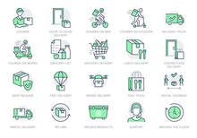 Food Delivery Line Icons. Vect...