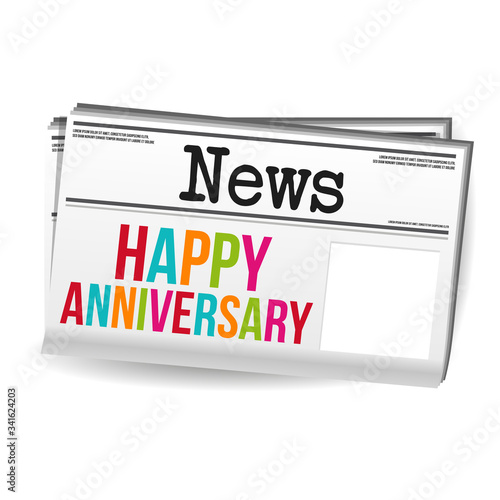 Photo Happy anniversary newspaper on white background.
