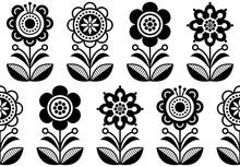 Folk Art Flowers, Seamless Vec...