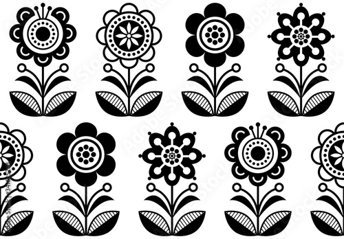 Folk art flowers, seamless vector floral pattern, Scandinavian black and white r Canvas Print