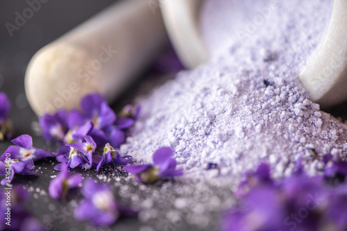 Fototapety, obrazy: close up  viola violetta odorata skin care product fragrant lilac soap with lilac spa bath salts and tincture body oil lilac sugar crystals baking decorating cakes
