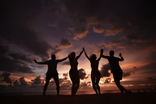 Silhouette Of Friends Sunset S...