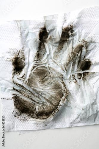 Fényképezés Dirty Handprint On White