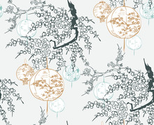 Lantern Japanese Chinese Design Sketch Ink Paint Style Seamless Pattern