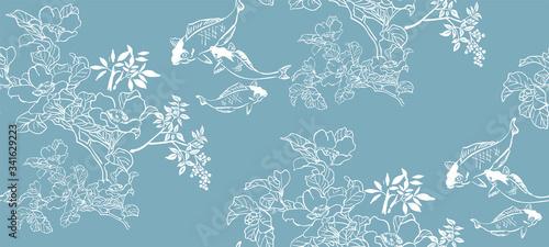 Obraz fish koi japanese chinese design sketch ink paint style seamless pattern - fototapety do salonu