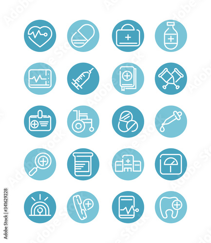 Photo medical and health care equipment assistance icon set block style