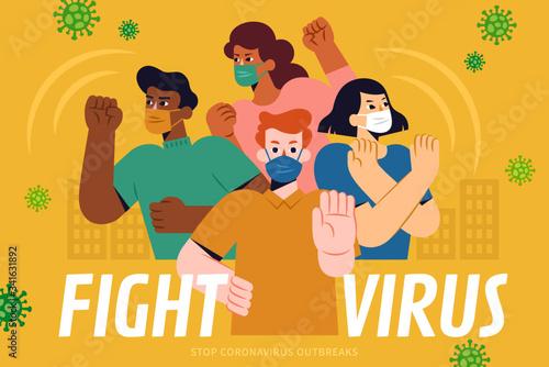 Fototapeta Fight the virus together poster obraz