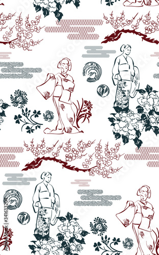 Fototapety, obrazy: kimono girl flowers blossom traditional geometric kimono seamless pattern vector sketch illustration line art japanese chinese oriental design