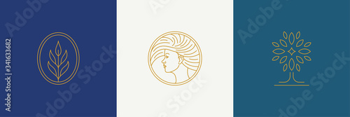 Vector line minimal decoration design elements set - female face and branch leav Fototapet